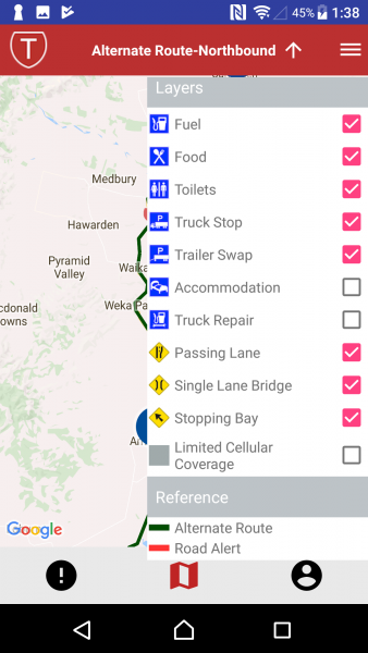 alternative route northbound menu screenshot