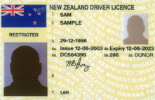 Yellow photo driver licence.