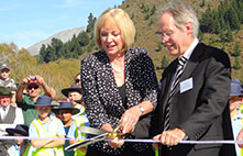 Waitaki MP Jacqui Dean and NZ Transport Agency Regional Director Southern Jim Harland, cut the ribbon to officially open the new Waitaki No 2 Bridge on the 5 April 2014..