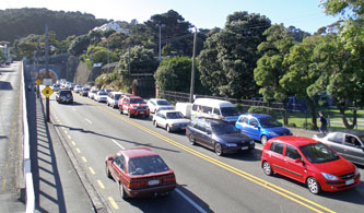 Traffic around the Basin Reserve.