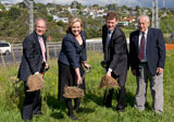 Auckland Mayor Len Brown, Hon Judith Collins, NZTA  State Highways Manager Tommy Parker and Assid Corban celebrate the start of  construction at Lincoln Road Interchange.