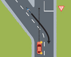 Vehicle crossing the centre line gives way