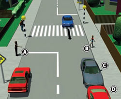 Picture showing various driving hazards