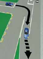 Picture of a car merging using a merge lane