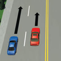 Picture of car passing on the left