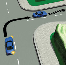 Picture of a car turning right on a road with a centre line