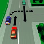 Picture of a car turning right from the left-hand side of a laned road