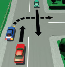 Picture of a car turning right from the left-hand side of an unlaned road