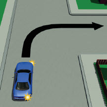 Picture of a car turning right on an unlaned road